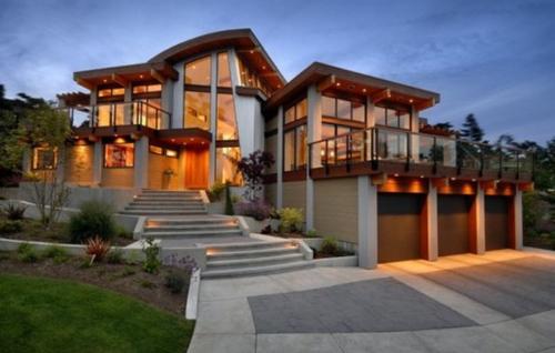 nhà gỗ kết hợp kính