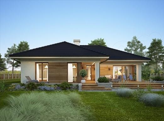 Nhà gỗ mái ngói kết hợp kính phong cách châu âu