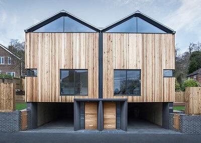 mẫu thiết kế nhà gỗ sinh đôi