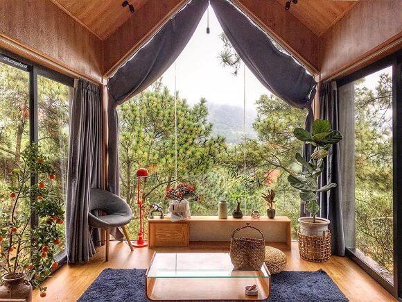 nhà gỗ bằng kính