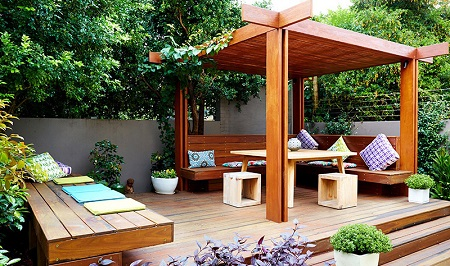 nhà gỗ kết hợp cảnh quan sân vườn